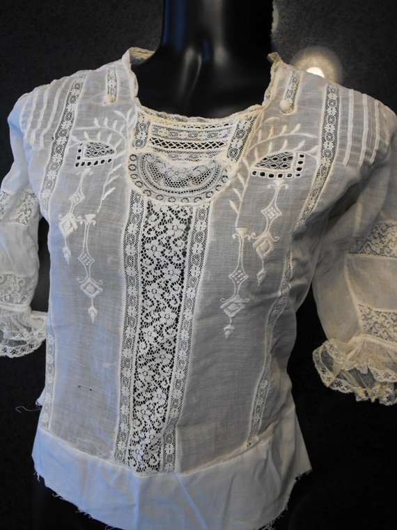 Antique Edwardian Blouse Lace Shirt  by soulrust, $99.99