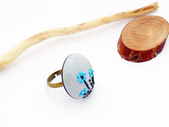 Gray blue and black ring with flower  polymer clay by spikycake, $15.00
