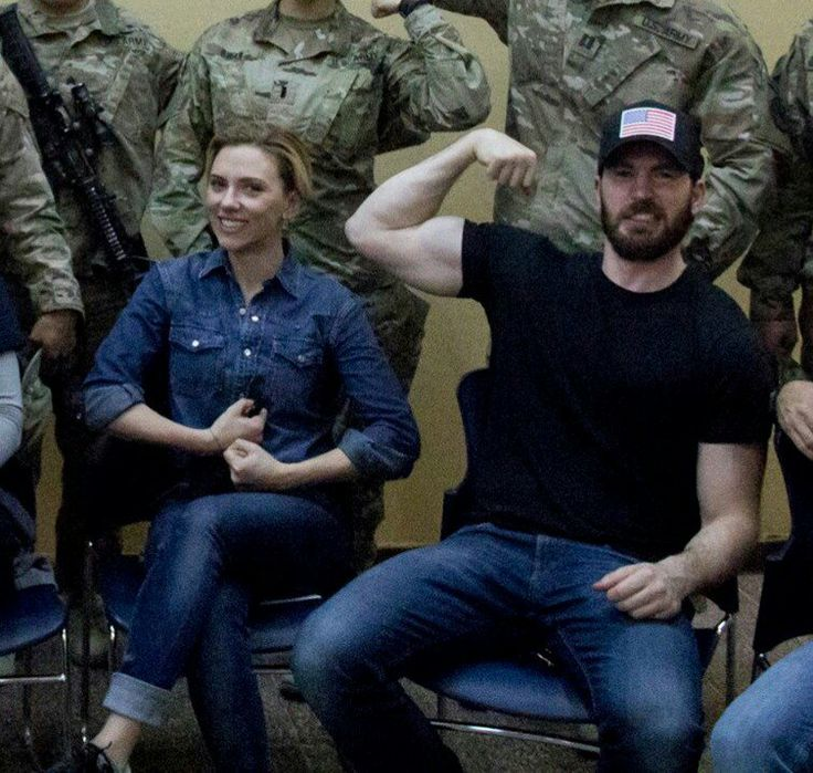 "Evans & Johansson on a USO Tour. [Sorta life imitating art if you remember Cap's USO tour in ""First Avenger""]"