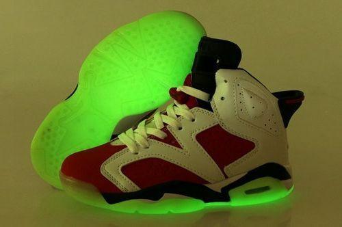 753f3c0102a0 Nike Air Jordan Vi 6 Retro Womens Shoes Glow In The Night White Rose Red  Black Ireland  WomensJellyShoes