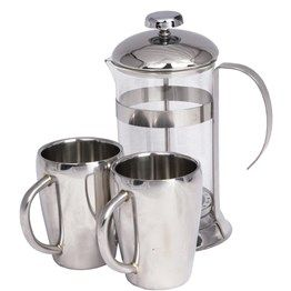 2 cup stainless steel coffee plunger (600ml capacity) with 2 double walled stainless steel mugs (250ml capacity).