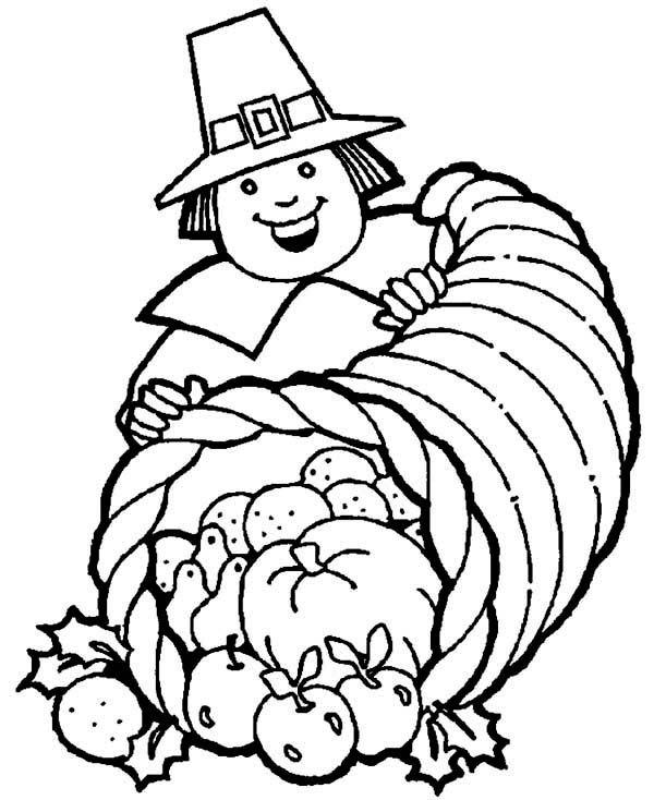 A Pligrim Gentlemen With Thanksgiving Day Cornucopia ...