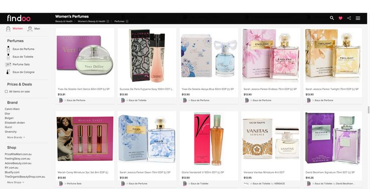 huge selection of perfumes for women and men on findoo.com.au