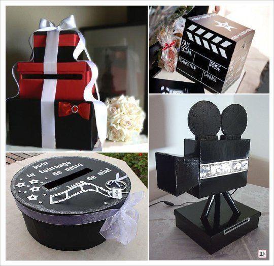 décoration mariage thème cinéma urne de mariage maquette cinéma caméra gobelet pop conr lecteur dvd magnétoscope limousine