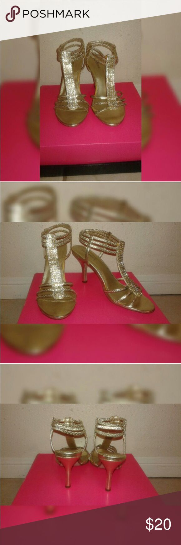 Gold Open Toe Heel Reposhing. These were sold to me as size 8.5 and they are actually size 8. I was so bummed because they would have been perfect!! Literally excellent condition. 3 inch heel. 💜 Shoes Heels