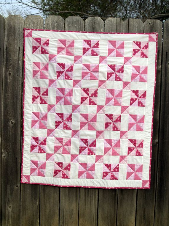 Pink Baby Quilt In Vintage Framed Pinwheel Pattern Baby