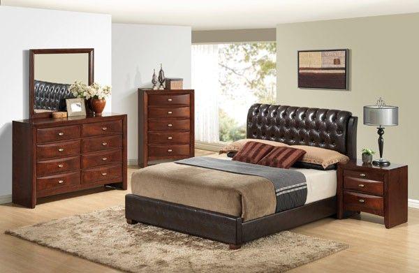 Global Furniture - Linda 5 Piece Queen Sleigh Bedroom Set in Brown - 8119-BR-QB-5SET