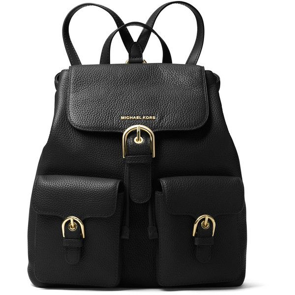 Michael Michael Kors Cooper Large Flap Backpack ($398) ❤ liked on Polyvore featuring bags, backpacks, luggage, buckle flap backpack, buckle bag, day pack backpack, buckle backpacks and logo bags