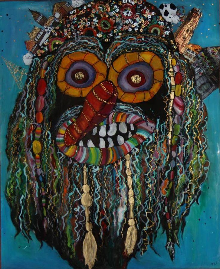 Identity, a Ink on Glass by Teli Iacsa from Switzerland. It portrays: Mortality, relevant to: traditional, Romania, swiss, folk, mask I love my identity i love my country i love traditional masks i love painting i love