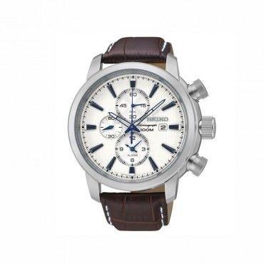SNAF51P1 Ανδρικό κλασικό σπορ quartz ρολόι SEIKO με χρονογράφο, ξυπνητήρι, άσπρο καντράν & καφέ λουράκι | Ανδρικά ρολόγια SEIKO ΤΣΑΛΔΑΡΗΣ στο Χαλάνδρι #Seiko #χρονογραφος #ξυπνητηρι #λουρι #ρολοι