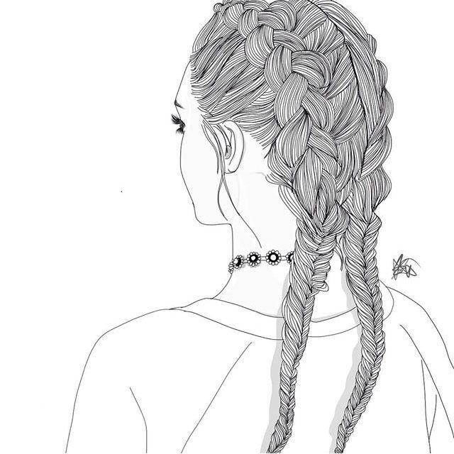Dessin Noir et Blanc | Outlines, Fille de dos et en même temps de profil, Tresses collées, Ras de cou
