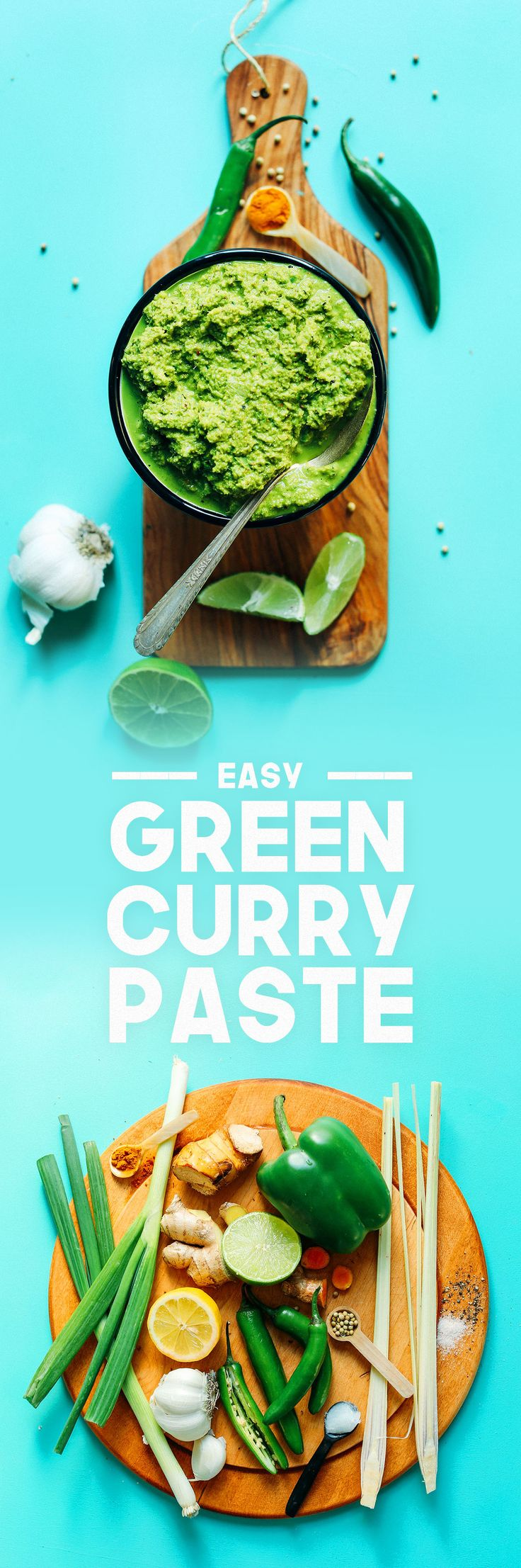 Easy Green Curry Paste (sub garlic-infused oil for garlic; use only dark green part of green onions; sub honey for sweetener) / Minimalist Baker