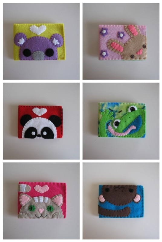 Peek a Boo Animals Felt Wallet Pattern