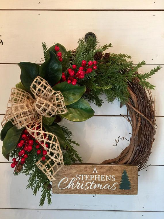 Personalized Christmas Wreath Last Name Wreath Distressed Christmas Sign Magnolia Wreath Pi Rustic Christmas Wreath Christmas Wreaths Diy Christmas Wreaths