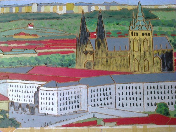 Pohled z Petřínské rozhledny v pozadí Troja, sídliště Bohnice,Jirouš