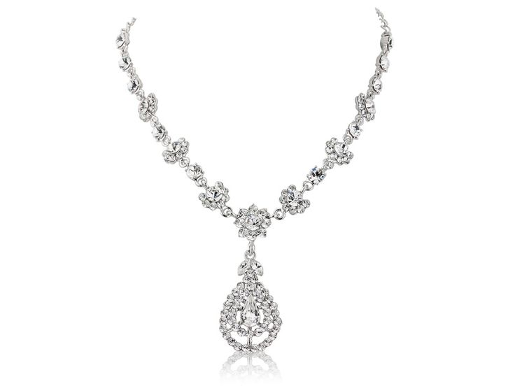 Crystal shimmer cubic zirconia  necklace with swarovski and cz crystals on a fully adjustable chain - truly glamorous