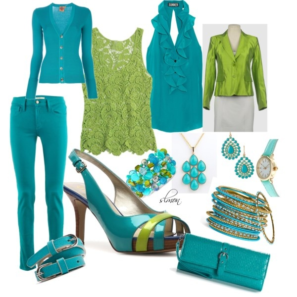 Turquoise and Lime Green, created by slmon on Polyvore  I really like the shoes. Two different outfits to go with them. Love the crocheted top. But also like the frilliness (is that a word?) of the halter top. Both the jacket and the cardigan would be worn unbuttoned.