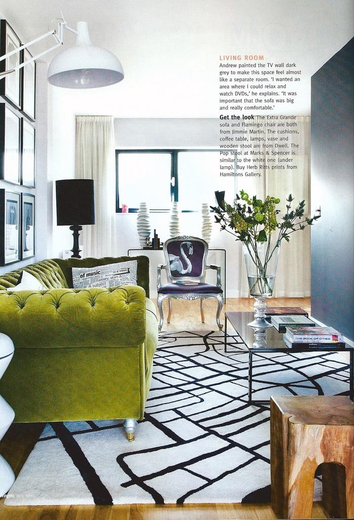 Green velvet chesterfield (like mine!!!) :)  Jimmie Martin - Living etc