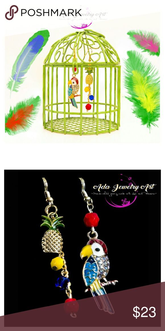 "Handmade Happy Parrot & Shiny Pineapple Earrings The parrot earring 2 3/4, the pineapple earring 2 7/8. Features: ""Preciosa"" multicolor crystal beads, Gold alloy shiny pineapple charm, silver alloy very colorful and bright Parrot charm Ada Jewelry Art Jewelry Earrings"