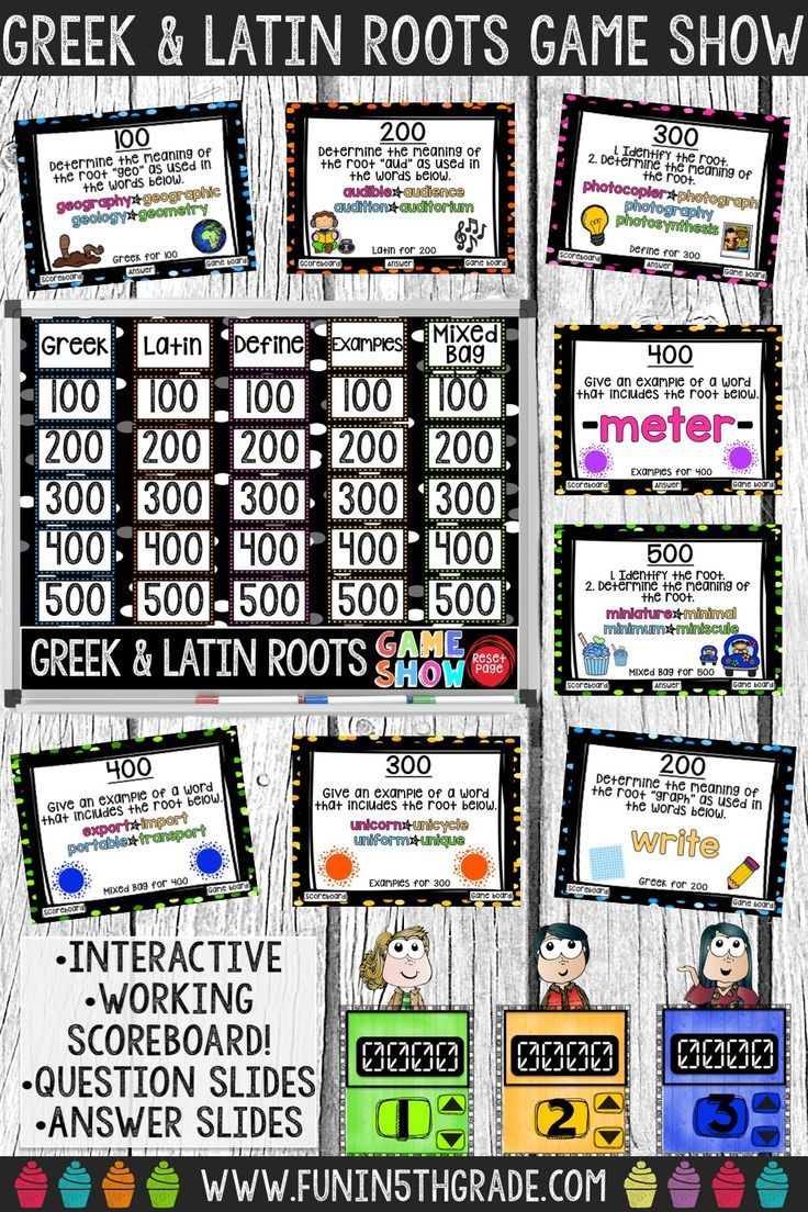 Greek and Latin Roots Game Show PowerPoint Review Game   Pinterest