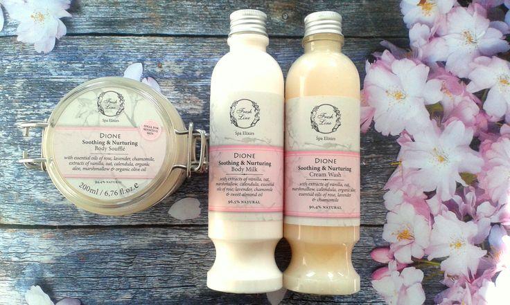 #Fresh #flower #care Το κρύο ξηραίνει την επιδερμίδα σας; H σειρά #Dione καταπραΰνει & ενυδατώνει την επιδερμίδα, αφήνοντάς την γλυκά αρωματισμένη… #FreshLine #soothing #nurturing #rose #vanilla #lavender #marshmallow #calendula #chamomile #feelromantic