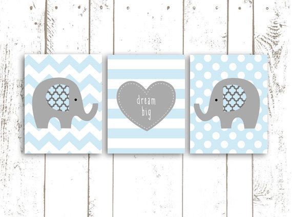 Elephant Art Print Nursery Art in Blue and by MooseberryPrintShop, $42.00