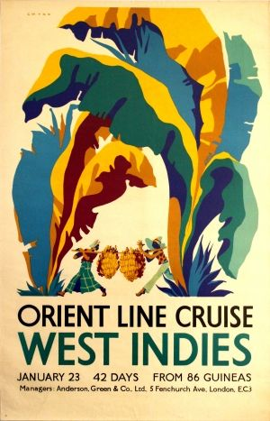 West Indies Orient Line Cruises, 1930s - original vintage poster by Herbert Gwynn listed on AntikBar.co.uk