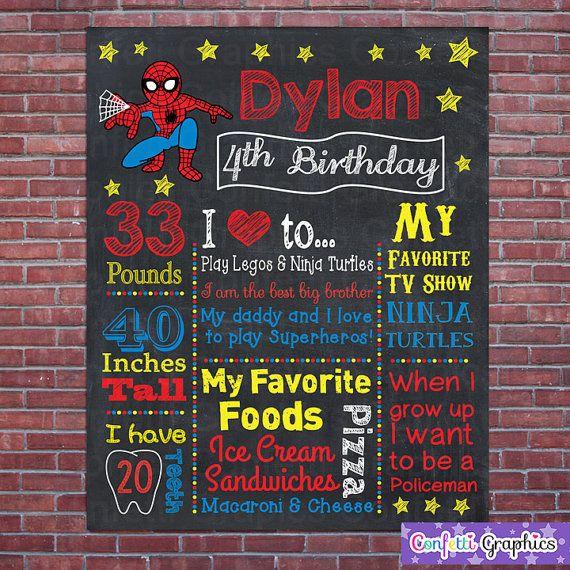Spiderman Superhero Birthday Chalkboard Board Sign Banner Any Age Baby's First 1st 1 2 3 4 5 6 7 Spider-man Boys Birthday - DIY Digital File