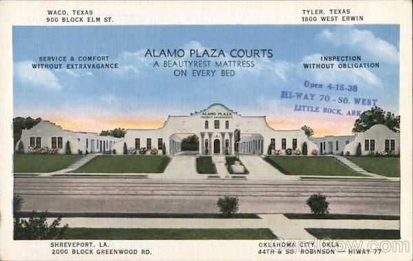 Alamo Plaza Courts Waco Tx Postcard With Images Alamo Plaza