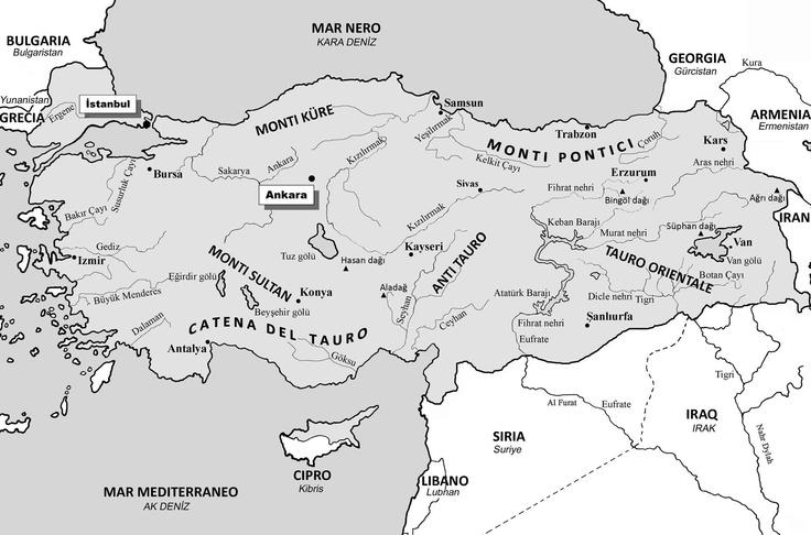 Turchia - Monti e Fiumi  (base cartografica R. Bixio - elaborazione A. De Pascale)