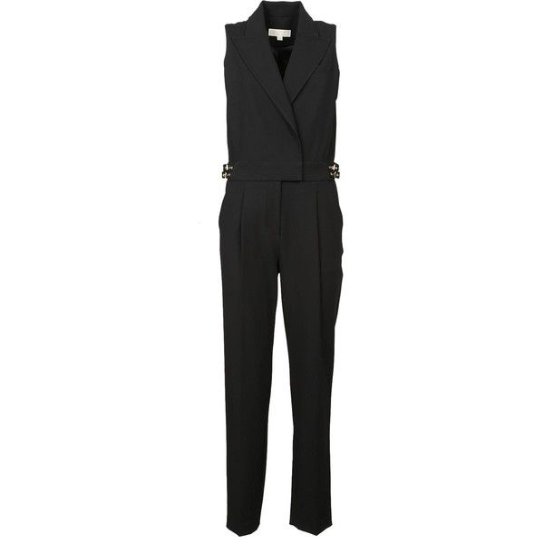 Tailored Jumpsuit (4,835 EGP) ❤ liked on Polyvore featuring jumpsuits, nero, sleeveless jumpsuits, slit jumpsuit, michael michael kors, tailored jumpsuit and jump suit