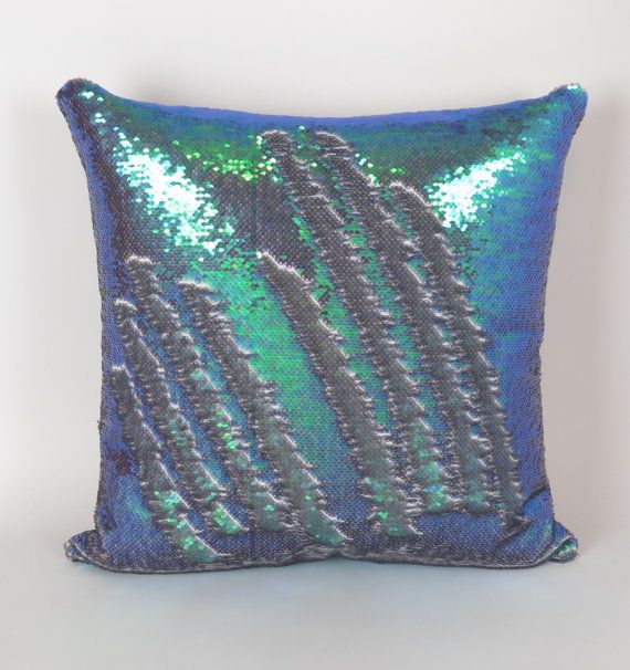 Mermaid Pillow  Iridescent Reversible Sequin by DeliciousPillows (Sequin Pillow, Write on it!)
