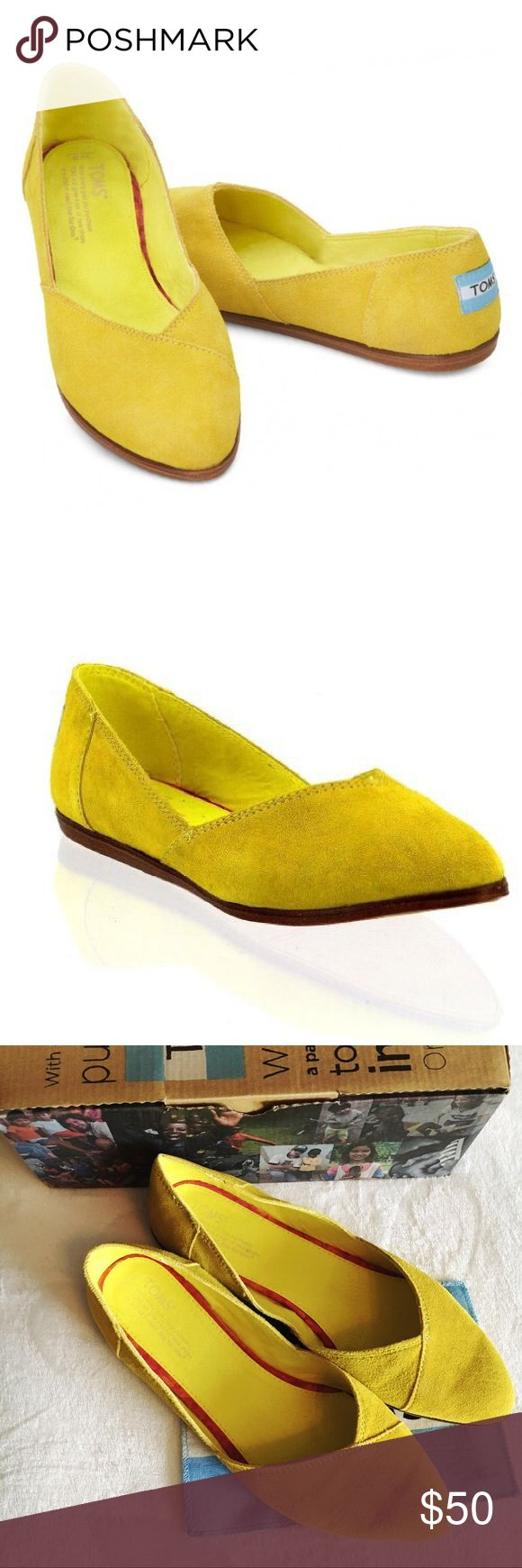 Adorable Toms Jutti Flats in Blazing Yellow Excellent used condition with box and Toms flag. Fun yellow color for spring and summer. Bring your look together with the refreshing TOMS Jutti Flat. This slip-on casual shows off a fun embossed upper for extra appeal. Comfort Insole Antimicrobial sock liner Rubber outsole Fit: True To Size Insole: Suede Outsole: Mixed Rubber Upper: Suede Toms Shoes Flats & Loafers