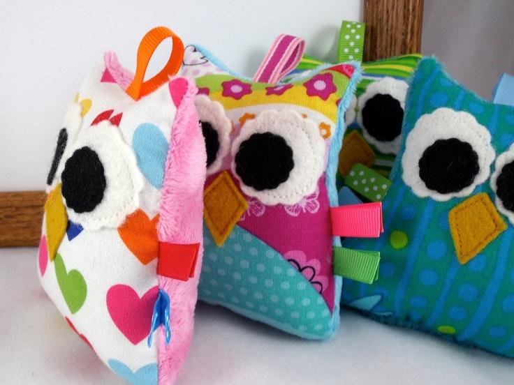 Plush Owl Rattle Baby Toy Small Stuffed Owl Minky Softie