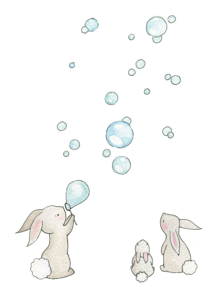 "Baby Nursery Art Giclee Print, for a 10 x 8"" frame, Bunnies & Bubbles. £15.00, via Etsy."