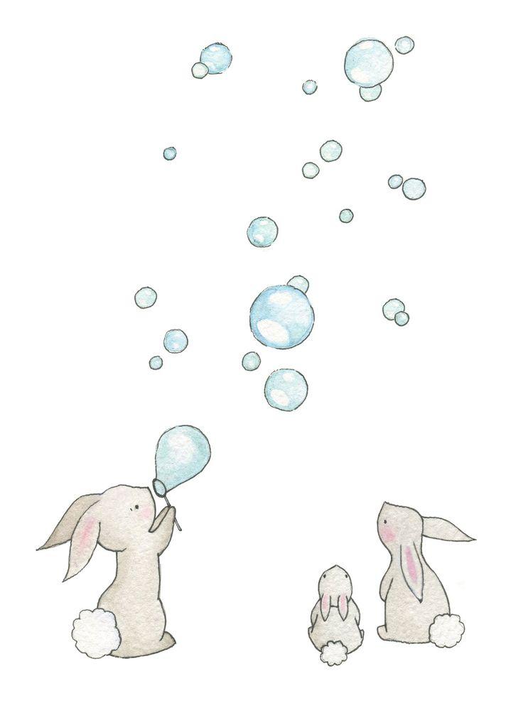 """Baby Nursery Art Giclee Print, for a 10 x 8"""" frame, Bunnies & Bubbles. £15.00, via Etsy."""