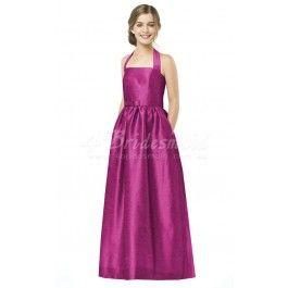 A-line Halter Floor-length Taffeta Junior Bridesmaid Dresses(JBD006)