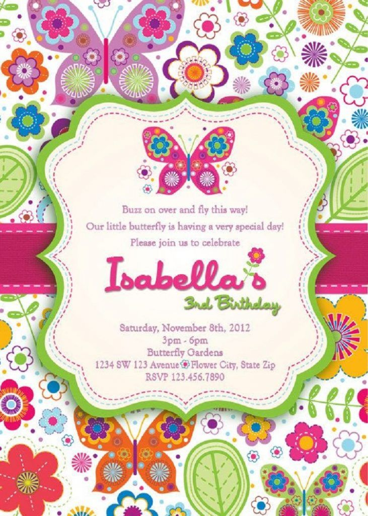 Flowers And Butterfly Birthday Invitation Invitation Card Ideas Butterfly Birthday Invitations Butterfly Invitations Birthday Invitations