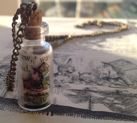 Alice in Wonderland Mad Hatter Glass Bottle Necklace by Mogglepops, €14.99