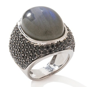 VERY AFFORDABLE - Rarities: Fine Jewelry with Carol Brodie Labradorite and Black Spinel Sterling Silver Ring