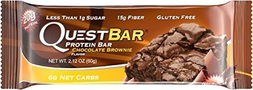 Quest Nutrition Protein Bar Chocolate Brownie 20g Protein 6g Net Carbs 170 Cals Low Carb Gluten Free Soy Free 2.12oz Bar 12 Count
