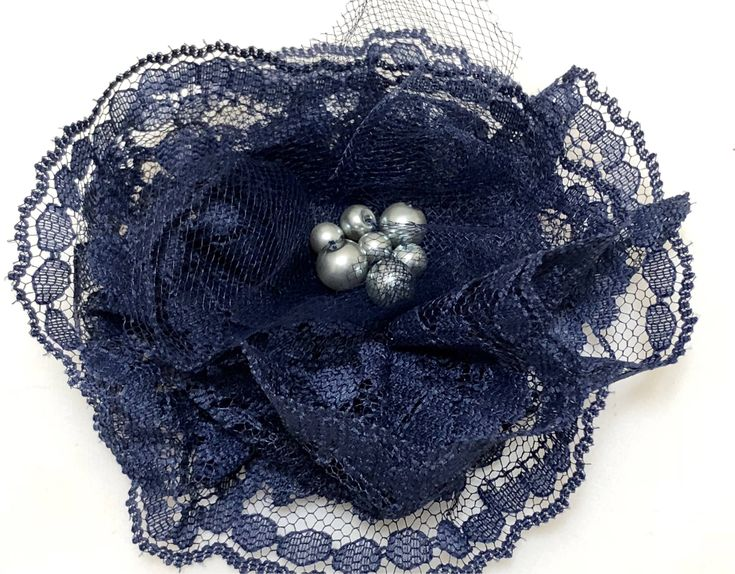 Excited to share the latest addition to my #etsy shop: Navy Lace Corsage, Navy Magnetic Brooch, Lace Fabric Flower Brooch, Navy Blue Pin