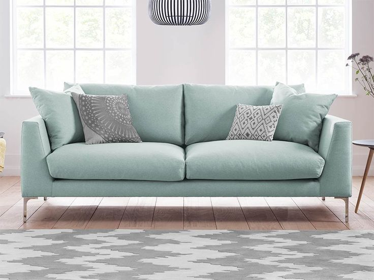 Modern And Stylish Drew Upholstered Velvet Sofa In Cambridge Mist    Available In A Range Of