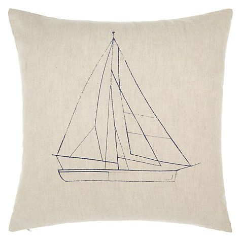 Buy John Lewis Linear Boats Cushion, Blue Online at johnlewis.com
