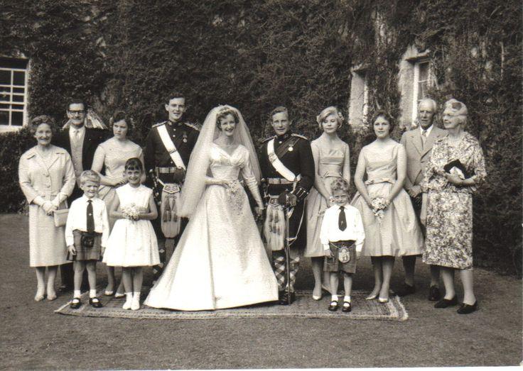 Jervis and Islay Molteno at their daughter Fiona's marriage to Gordon Lorimer, Glen Lyon, 1959