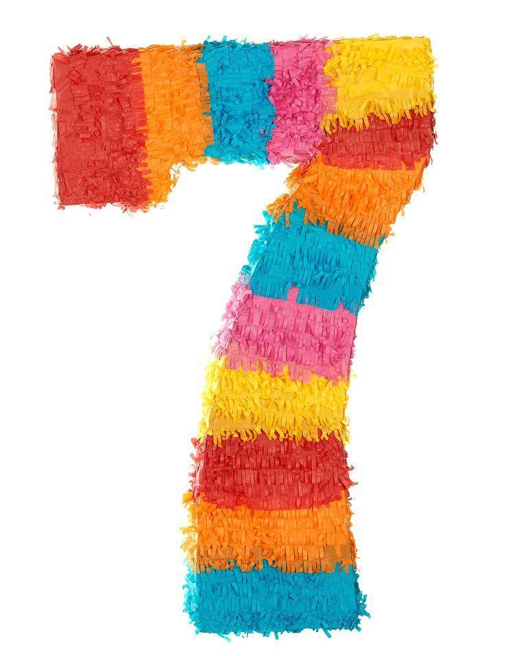 Piñata número 7: Esta piñata multicolor representa el número 7, mide 55 x 25cm. Es el artículo ideal para fiestas de cumpleaños.Unique party branding