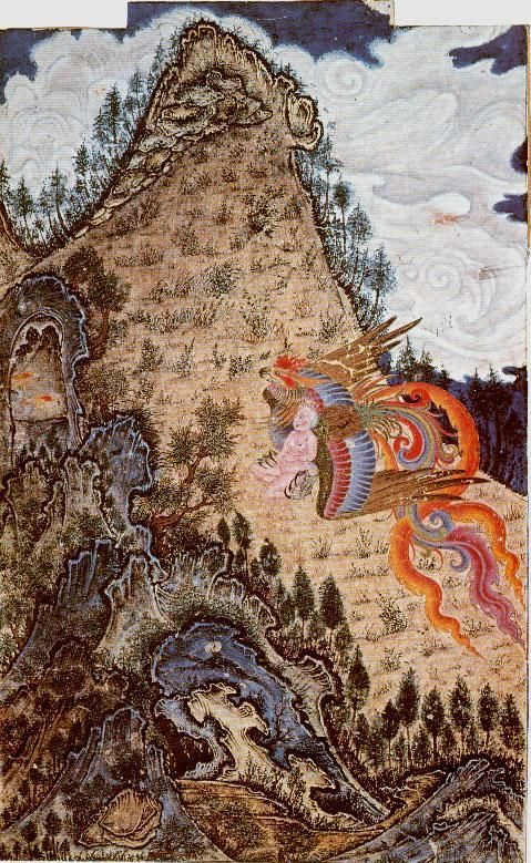 The Simurgh taking Zal back to its nest on Mount Demavend Shah-nama (Firdawsi's 'Book of Kings'). Tabriz, 1370.
