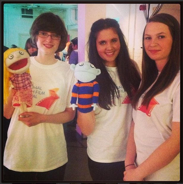 """Chloe, Heather and Carly, joined by the stars of their award winning short comedy """"Asking Out Tim"""" - the #nationalyouthfilmfestival is a great platform for young film makers and gives them a chance to see their work on the big screen! #film #nyff2013 #filmnews #movienews #youngfilmmakers #animation #puppetry"""