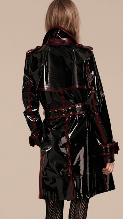 Schwarz Ungefütterter Trenchcoat aus Lackleder 3