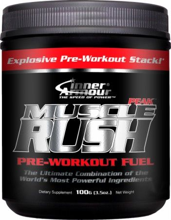 "INNER ARMOUR - MUSCLE RUSH PEAK EXPLOSIVE PRE WORKOUT "" BANNED SUBSTANCE FREE"" 30 servings $ 44.95 - CREATINE HCL, Carnosyn, Argenine, Carnitine,"